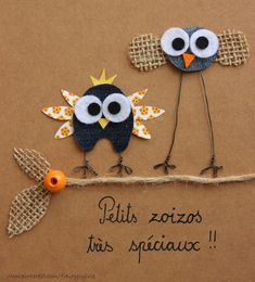 Oiseaux rigolos en patchwork à base de tissus recyclés. - Fancy patchwork birds out of recycled cloth. Bird Crafts, Diy And Crafts, Crafts For Kids, Arts And Crafts, Paper Crafts, Artisanats Denim, Denim Art, Jean Crafts, Denim Crafts