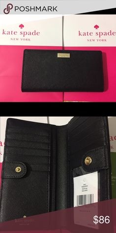 """New Black Kate Spade wallet 6.7"""" X 3.5"""" X 0.5"""" Beautiful black saffiano leather with gold tone hardware Snap Closure, Fabric lining. Gold tone hardware. Interior twelve credit card slots, ID window slot, and four full length billfolds zip pocket on back Measures approximately 6.7"""" X 3.5"""" X 0.5"""" kate spade Bags Wallets"""