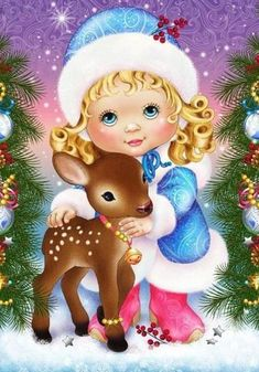 Diy Diamond Painting Girl And Deer Cartoon Mosaic Diamond Embroidery Square Dill Full Cross Stitch Child Gifts Crafts Christmas Paintings, Christmas Art, Vintage Christmas, Christmas Ornaments, Fabric Softener Sheets, Diy And Crafts, Arts And Crafts, Diamond Art, Christmas Wallpaper