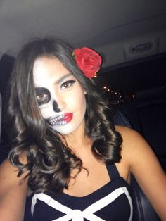 Halloween makeup half skull face