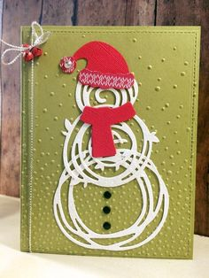 Swirly Scribbles snowman, Jolly Friends (HMC2016), Jolly Hat builder punch, mini jingle bells, Softly Falling EF, Snow Friends framelits scarf; old olive, real red, glimmer paper