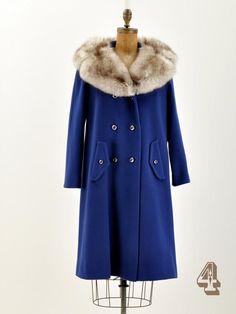 vintage royal blue fur trimmed coat