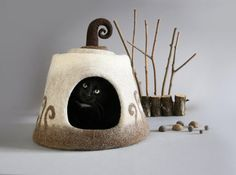 Exclusive design of natural gray cream, brown and white colors this cat cave will make a corner of your pet the accent in your home. Can be perfect gift for yuor loved ones and house warming gift for pet lovers. Made from uncolored natural wool this handmade comfortable cat house is very
