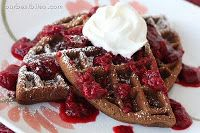 Double Chocolate Waffles with Berry Sauce   Our Best Bites
