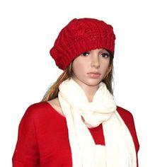 6000be7c329 Aokdis Popular Hot Brand New Warm Winter Women Ladies Girl Beret Braided  Baggy Beanie Hat Ski Cap (Red). Crochet HatsKnitted ...