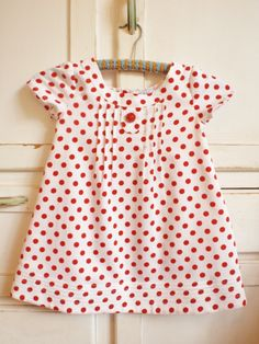 Girls Dress Vintage Spotty Polka Dot Red White by apieceofpie
