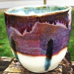 Porcelain cup Smoky Merlot glaze - #ceramics