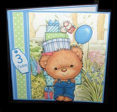 Party Boy Bear Decoupage &amp Insert Mini Kit by Carolyn Norris Young Boys, Handmade Cards, Card Stock, Decoupage, Tape, Card Making, Bear, Kit, Printed