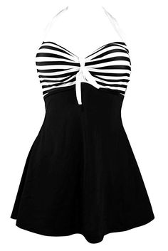 Cocoship Vintage Sailor Pin Up Swimsuit One Piece Skirtini Cover Up Swimdress(FBA) Color: BlackWhite(Fast Ship) Adjustable halter neck;Halter straps Pattern:Vintage Sailor Pin Up One Piece Skirtini Cover Up Swimdress Package Includes: 1 x Swimsuit Pin Up Swimsuit, Swimsuit Cover Ups, One Piece Swimsuit, Striped Swimsuit, Swim Cover, Modest Swimsuits, Women Swimsuits, Fashion Swimsuits, Vintage Swimsuits