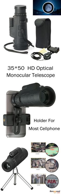 US$19.99+Free shipping. 35*50 HD Optical Monocular Telescope, Holder For Most Cellphone. Color: Black. Material: Rubber+Glass. Size: 15.5x7.5cm. Phone Holder Size: 12x4.2cm. Phone Holder Range: 5~7.2cm