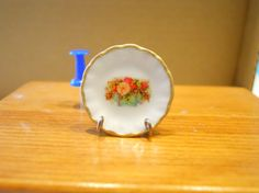 Dollhouse Miniature Plate Shabby Flowers  by TheQuirkyCurioShoppe, $4.00