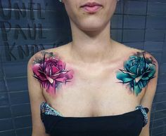 Shoulder roses by Uncl Paul Knows.  http://tattooideas247.com/shoulder-roses/