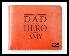 Personalise this genuine leather wallet, with a name up to 12 characters. The text 'My Dad is My Hero, love' is fixed and will appear as standard on the wallet. Wallet includes a Change Holder, 6 Card Slots & Notes Holder. Material is genuine leather.