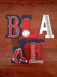 boston red sox crib bedding | ... -Painted Wood Letters for Boston Red Sox Baseball Team World Series