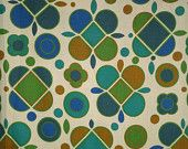 "Vintage Mid Century Mod Fabric-Unused-89""x21.5""-Pillow Material-Flower Power-Mustard,Teal,Royal Blue,Avocado Green"