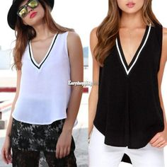Ladies-V-Neck-Chiffon-Casual-Vest-Top-Tank-Sleeveless-T-Shirt-Blouse-M-XL-ES9P
