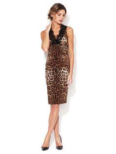 Dolce & Gabbana Leopard Lace Bodice Silk Dress