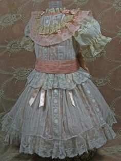 LOVELY ANTIQUE DRESS & SLIP FOR A BISQUE FRENCH or GERMAN DOLL