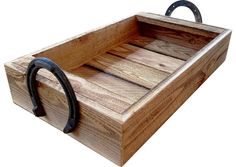 Farmhouse Tray with Horseshoe Handles | Western Style Serving Tray & Centerpiece