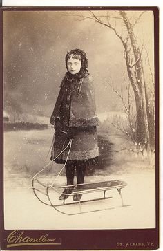 :::::::::: Antique Photograph :::::::::: Wonderful Winter Photograph with girl and sled.