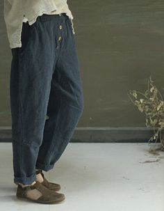 Dark blue loose casual long linen pants women flax by FashionGD