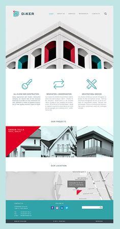Diker Bau Website on Behance Property Branding, Minimal Web Design, Architectural Services, Website Design Inspiration, Daily Inspiration, Web Layout, Graphic Design Studios, Page Design, Design Layouts