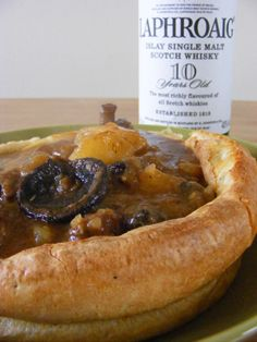 Whisky, beef & mushroom stew in a Yorkshire pudding bowl