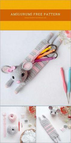 Crochet Parrot, Crochet Deer, Crochet Wool, Crochet Amigurumi Free Patterns, Crochet Animal Patterns, Crochet Gifts, Free Crochet, Animal Pencil Case, Pencil Cases