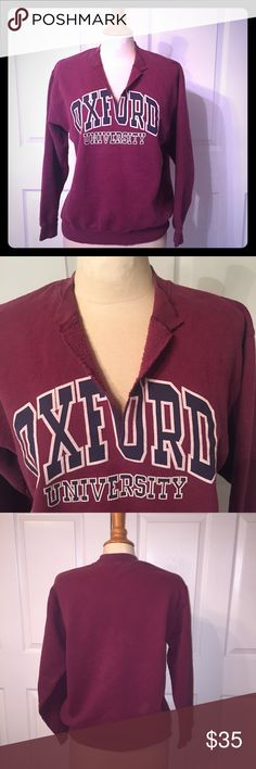 Authentic Oxford University Sweatshirt Purchased while I was in school there. Cut the neck for a vintage look, but great condition other than that. Tops Sweatshirts & Hoodies