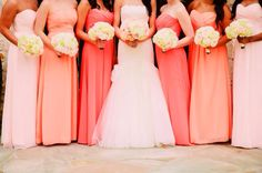Long, chiffon Mismatched bridesmaids dresses; coral themed wedding #ombre
