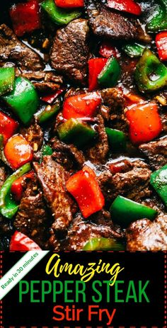 asian recipes Pepper Steak Stir Fry has melt in your mouth flank steak with bell pepper in the most amazing sauce. This is a restaurant quality meal that you can make in less than 30 minutes! Steak Stirfry Recipes, Grilled Steak Recipes, Stir Fry Recipes, Cooking Recipes, Healthy Recipes, Steak Meals, Beef Steak, Chicken Steak, Cooking Steak