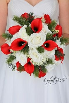 Red and white winter wedding bouquet with pine perfect brides bouquet for a Christmas Wedding