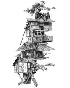 34 Ideas tree house illustration drawing for 2020 Tree House Drawing, Building Sketch, Cool Tree Houses, House Sketch, Fantasy House, House Illustration, Cute House, Environment Concept Art, Art Sketchbook