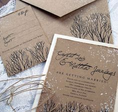 Winter Wedding Ideas - Inspirational Invitations - Click pic for 25 DIY Wedding Decorations | Small Budget Wedding Ideas