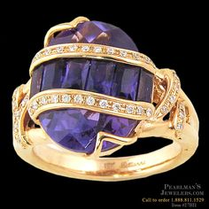 Bellarri amethyst 18K gold and diamond ring from Pearlman's Jewelers