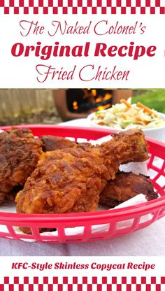 The Naked Colonel's Original Recipe Fried Chicken KFC-Style Skinless Copycat Recipe Turkey Recipes, Chicken Recipes, Dinner Recipes, Kfc Chicken Homemade Recipe, Chicken Meals, Restaurant Recipes, Kentucky Fried, Bourbon Kentucky, Kentucky Derby