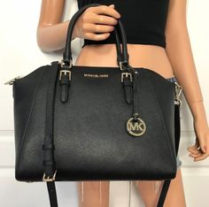 dbe09ad056 See more. NWT Michael Kors Black Large Satchel Bag Handbag Leather  Signature Tote  398  MichaelKors  ShoulderBag