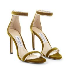 Citrus Velvet Open Toe Sandals with Jewel Trim. Discover the Cruise collection & shop the latest trends today. Stilettos, Black Stiletto Heels, High Heels, Gold Heels, Fashion Heels, Look Fashion, Stripper Heels, Evening Sandals, Jimmy Choo Shoes