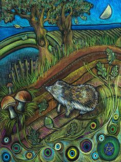 Jaine Rose ~ Hedgehog and Oak Tree Hedgehog Illustration, Polymer Clay Painting, Oak Tree Tattoo, Hedgehog Art, Art Area, Magical Forest, Naive Art, Woodland Creatures, Tree Art