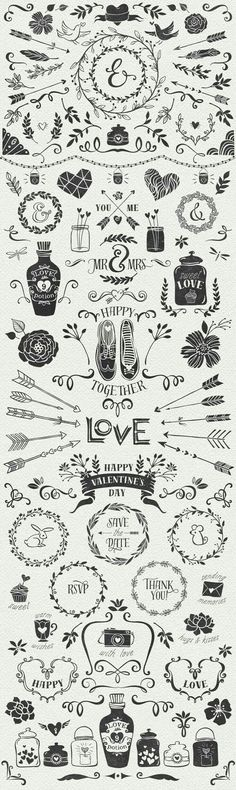 Hand Drawn Romantic Decoration Pack by kite-kit on day wreath illustration Doodle Drawing, Doodle Art, Arrow Doodle, Doodle Frames, Karten Diy, Doodles, Chalkboard Art, Chalk Art, Wedding Cards
