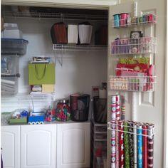 My new Elfa over-the-door rack for gift wrap supplies!