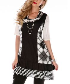 Black & White Argyle Sleeveless Scoop Neck Tunic - Women & Plus by Lily #zulily #zulilyfinds
