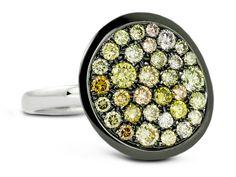 Multi Fancy Color Diamonds, .70 Carats Total Weight18K White GoldBlack Rhodium Edge #rings