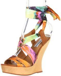 Steve Madden Women's Quinnnn Wedge Sandal. I need these in my life NOW.