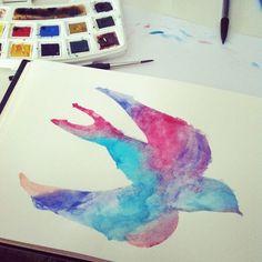 fly andorinha watercolors
