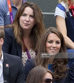 Catherine, Duchess of Cambridge with Rebecca Deacon, (private secretary to Catherine, Duchess of Cambridge) as Catherine, Duchess of Cambridge attends the Tennis at Wimbledon as part of The London Olympics on August 2, 2012 in , United Kingdom.