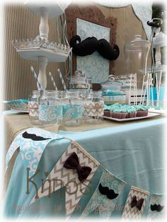 μουστακια candy bar Boy Christening, Boy Baptism, Baptism Favors, Baptism Party, Wedding Decorations, Table Decorations, Candy Table, Nursery Room, Little Man