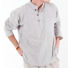 Hemp Mix Collarless Shirt