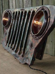 Upcycled Vintage Jeep Grill Lighted Wall Decor by BenclifDesigns. Great for a mancave or garage. Garage Shed, Man Cave Garage, Garage Bar, Diy Luminaire, Vintage Jeep, Vintage Stuff, Jeep Grill, Deco Originale, Automotive Furniture