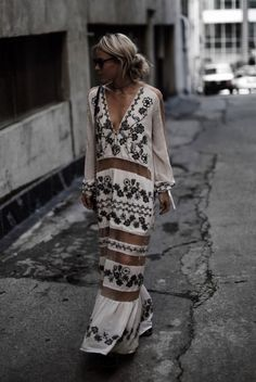 summer outfit, casual outfit, boho outfit, boho chic outfit, festival outfit, street style, street chic style - white embroidered maxi dress, black studded booties, black sunglasses, black shoulder bag